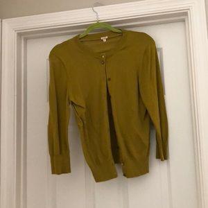 J Crew olive 3/4 sleeve sweater